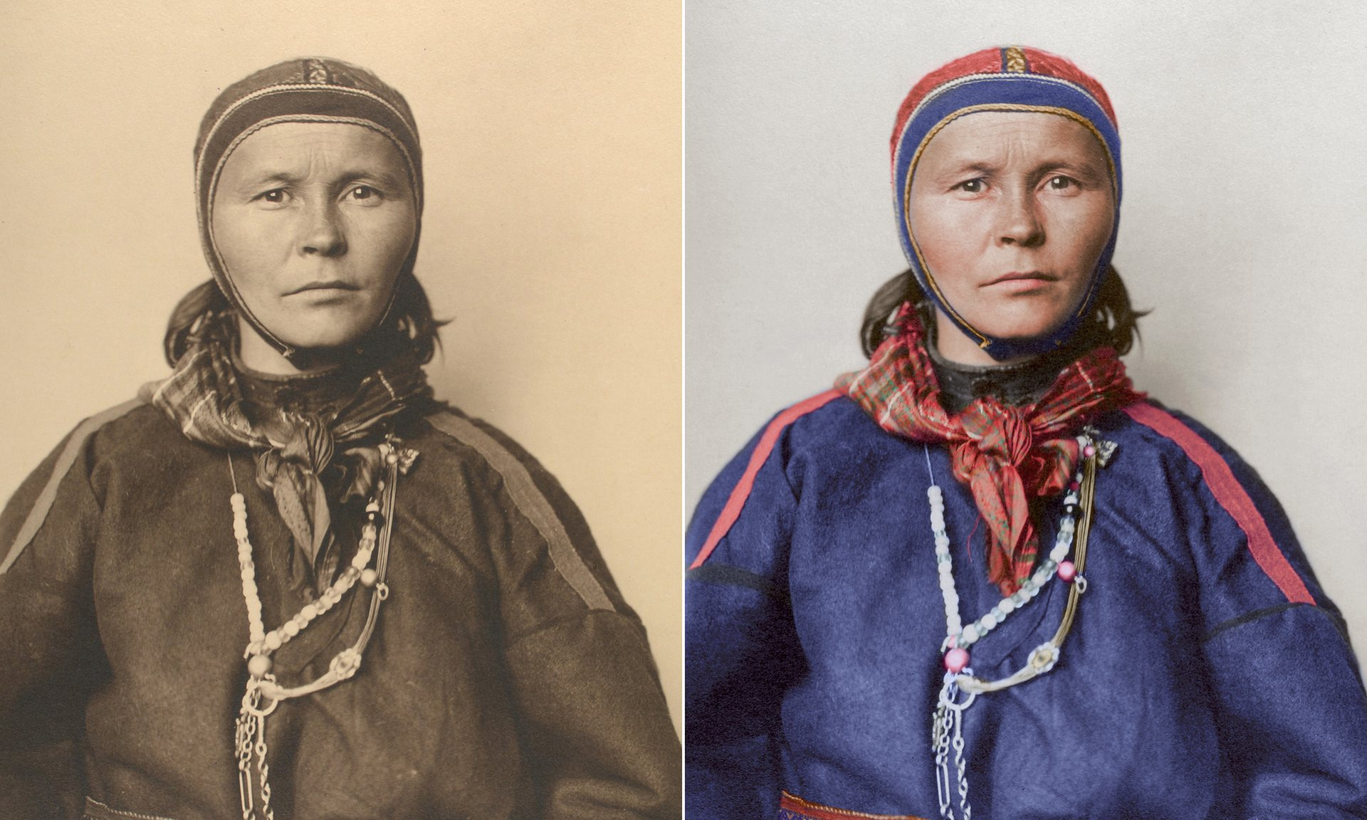 Un laplander alrededor de 1910, con el traje tradicional de la gente de Sami que habitan en las regiones árticas en el norte de Noruega a la península de Kola en Rusia