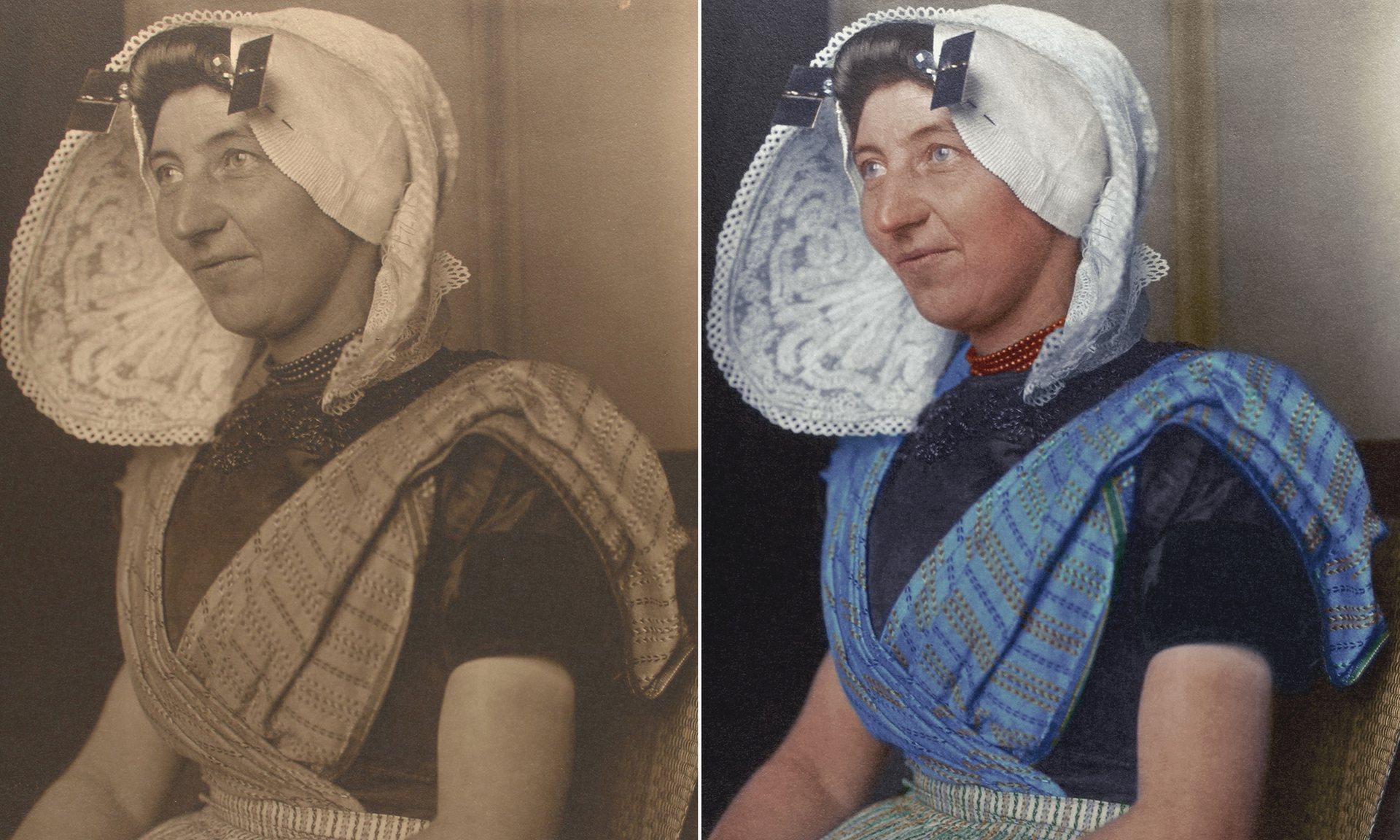 Una mujer holandesa alrededor de 1910 llevando un gran sombrero, uno de los aspectos más reconocibles de la vestimenta tradicional holandesa.