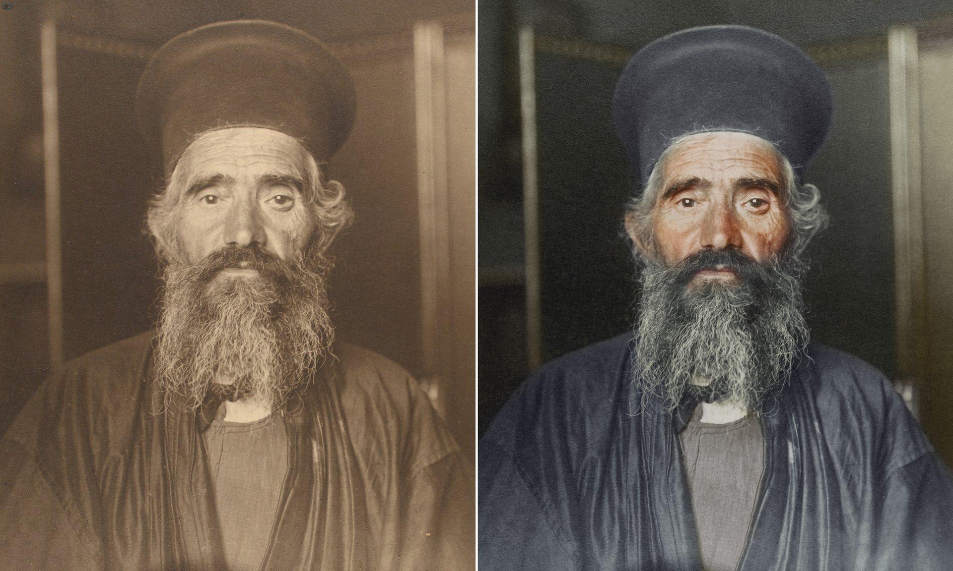 Un sacerdote ortodoxo griego, que lleva una túnica hasta los tobillos y un sombrero cilíndrico rígido llamado kamilavkion, usado durante los servicios
