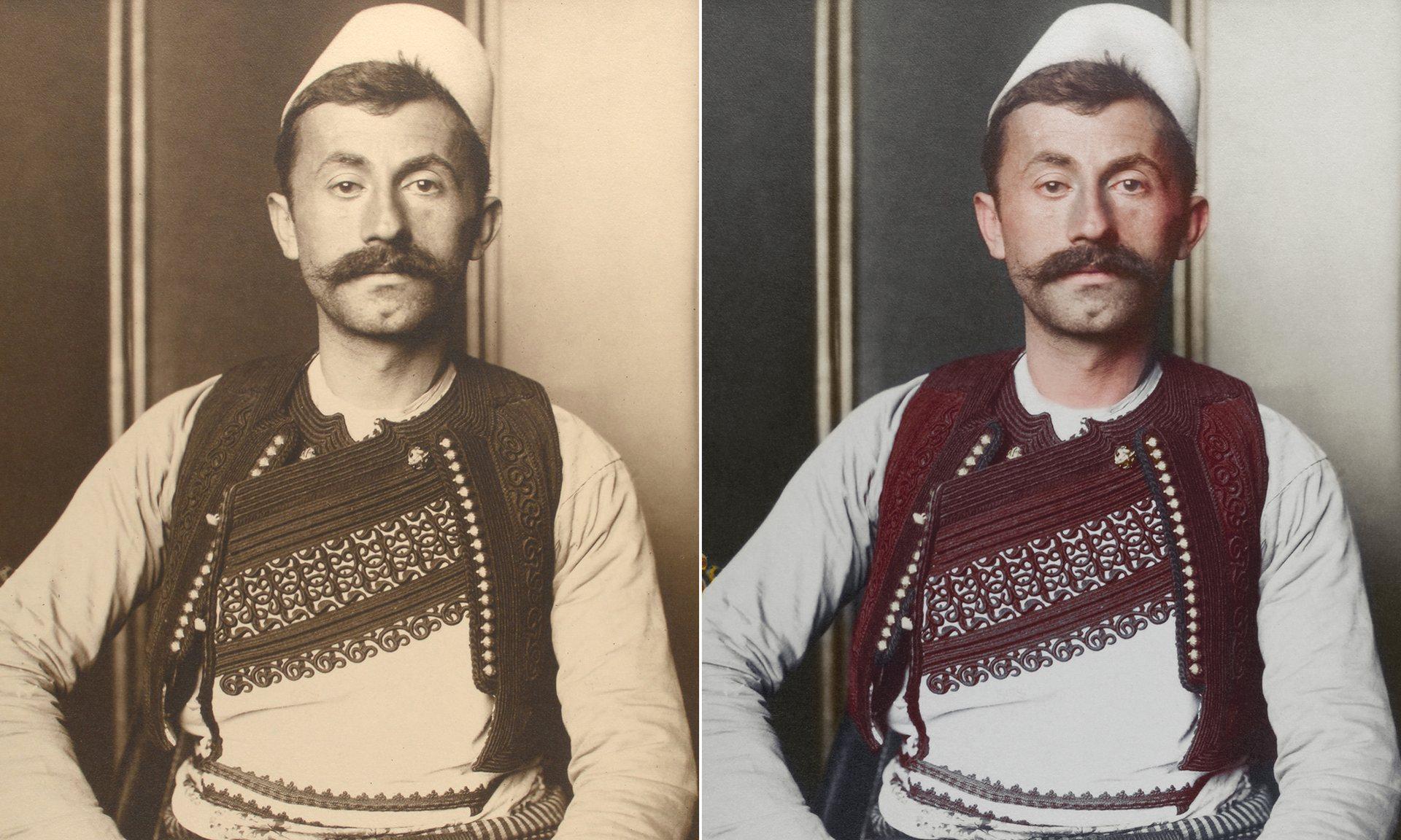 Un soldado albanés, su chaleco está decorado con trenzas bordados de seda o algodón; su color y decoración denotan la región a la que pertece y su rango social