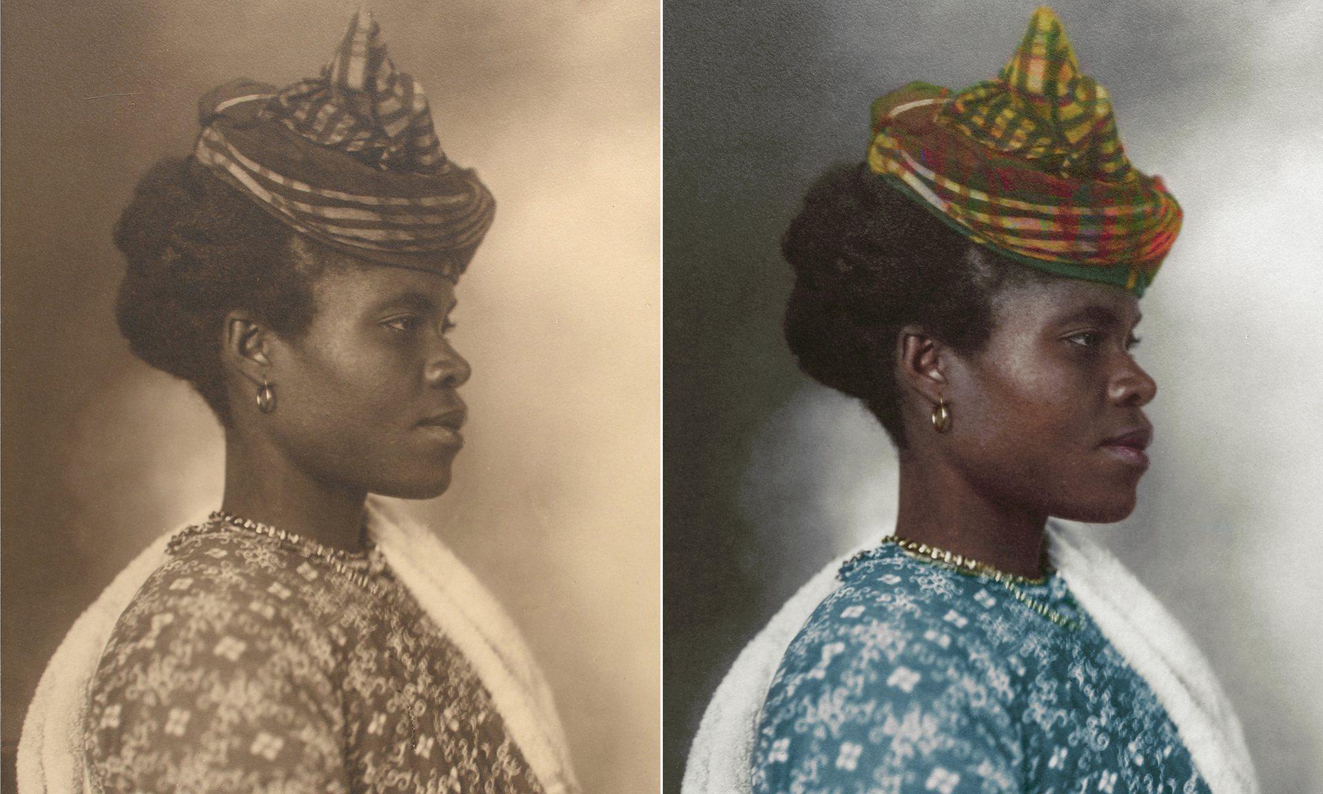 Una mujer de Guadalupe en 1911, vistiendo traje tradicional, incluyendo un casco de tartán elaborado que se remonta a la Edad Media