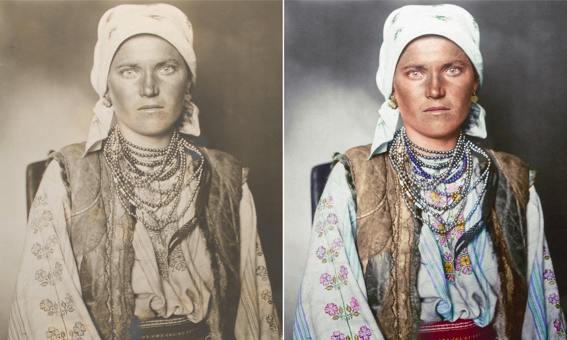 Una mujer Ruteno alrededor de la región históricamente habitan en el reino de los Rus, que incorpora partes de los países de habla hoy en día eslavos. Su traje consiste en una camisa y enagua hecha de lino bordado con motivos florales tradicionales