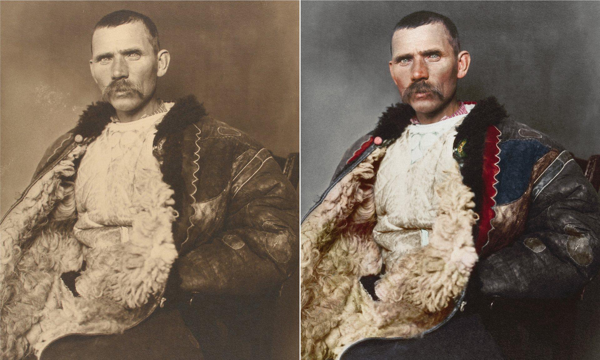 Un pastor rumano alrededor de 1906, lleva el manto de un pastor tradicional conocido como sarica. La prenda en general se extiende hasta por debajo de la rodilla y puede ser utilizado como almohada cuando se duerme afuera