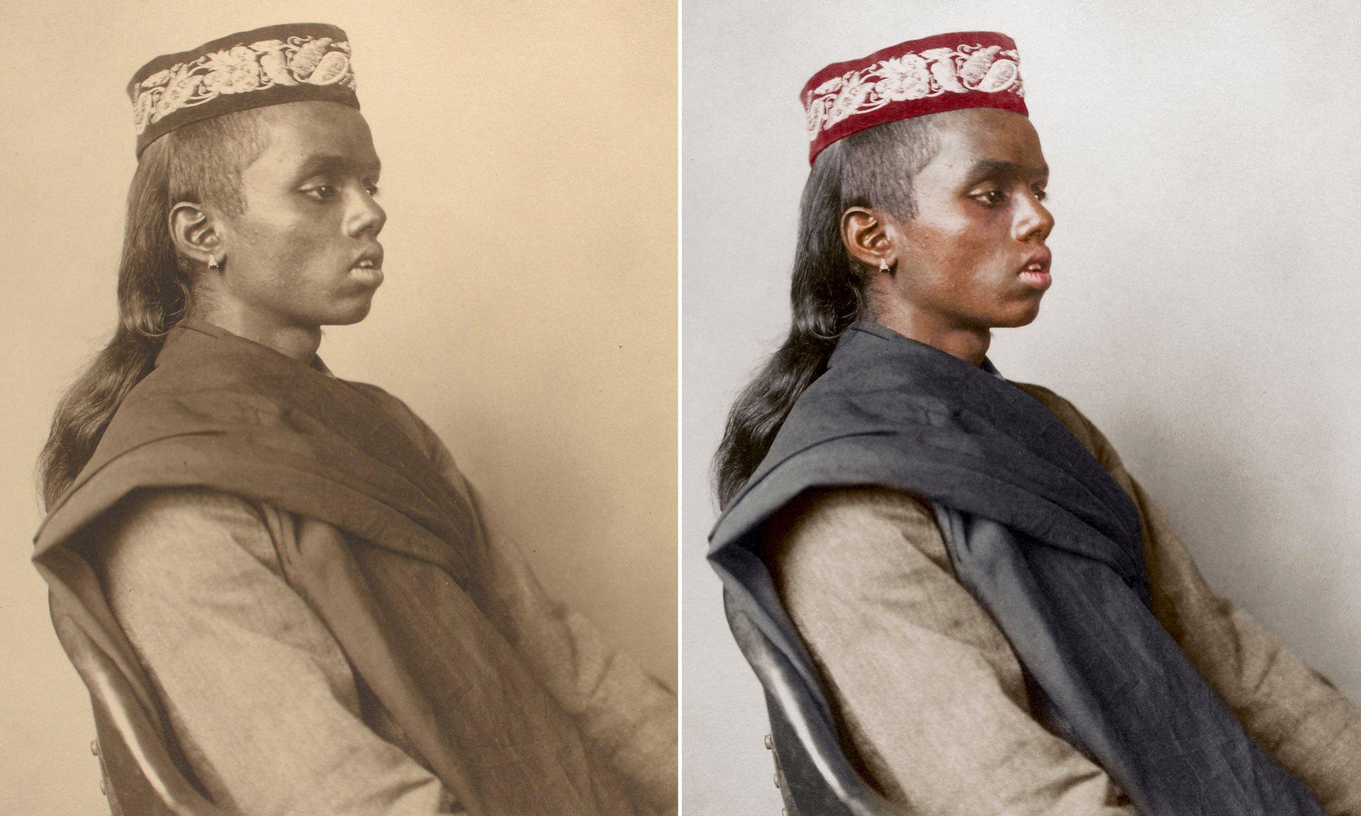 Un niño hindú alrededor de 1911, llevaba una gorra y un manto de oración hilado a mano