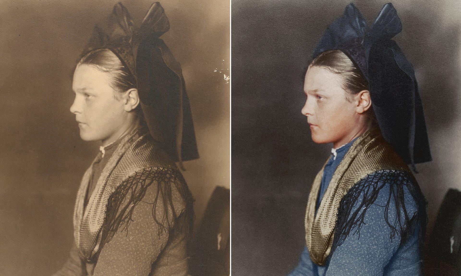 Una niña de Alsacia-Lorena alrededor de 1906, proveniente de la región de habla germánica de Alsacia, hoy en día Francia. El gran arco, conocido como schlupfkàpp, era usado por mujeres solteras.
