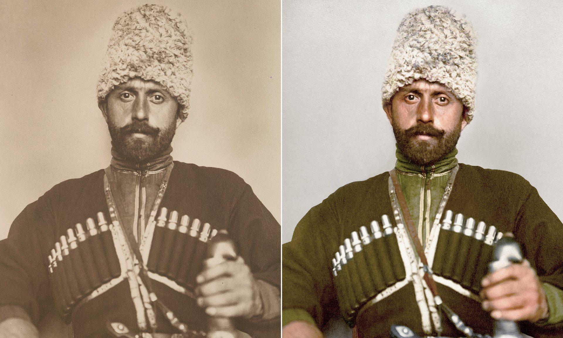 Un auténtico cosaco portando su sobrero de lana de cordero