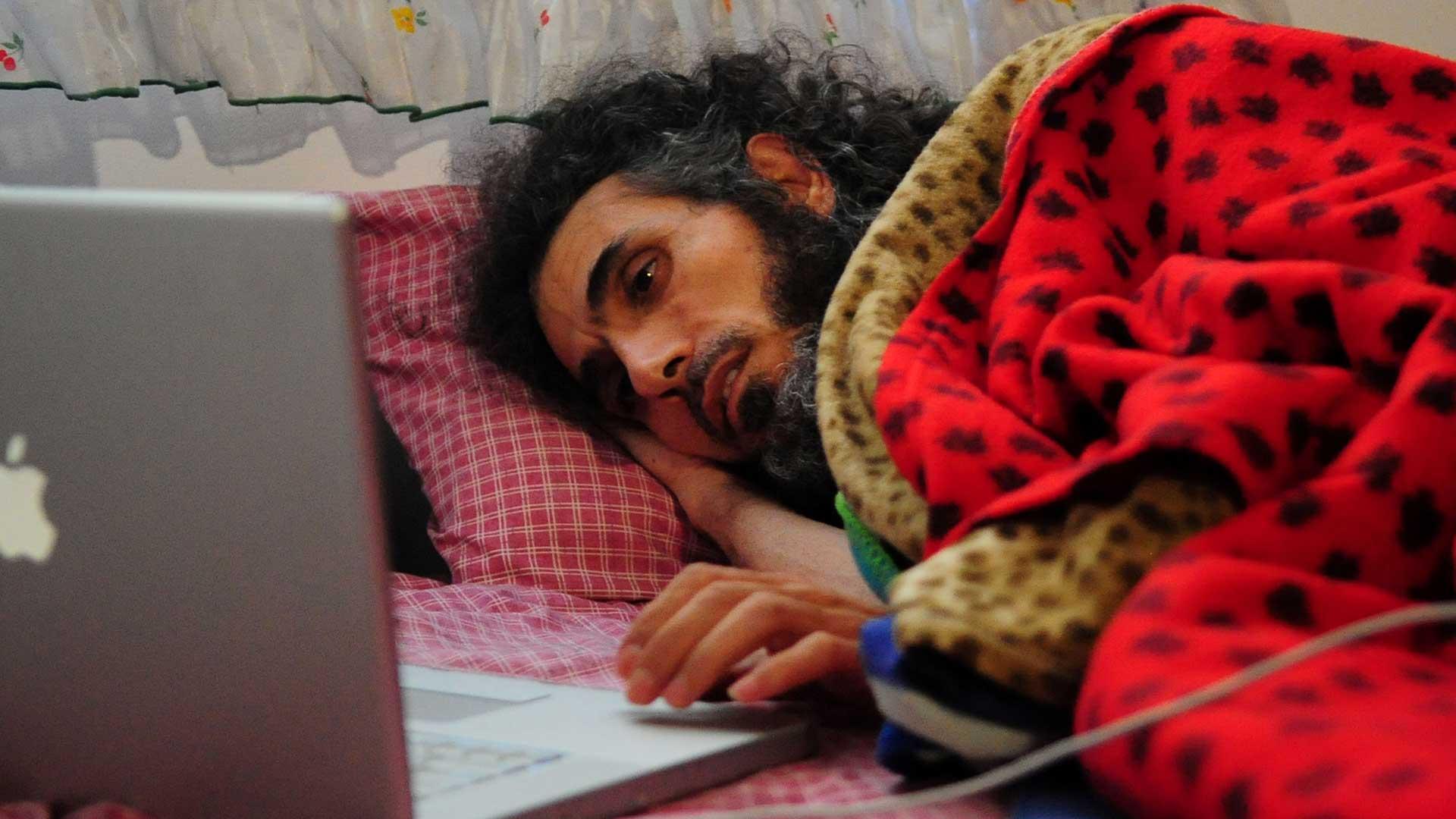 Diyab durante su última huelga de hambre (AFP)