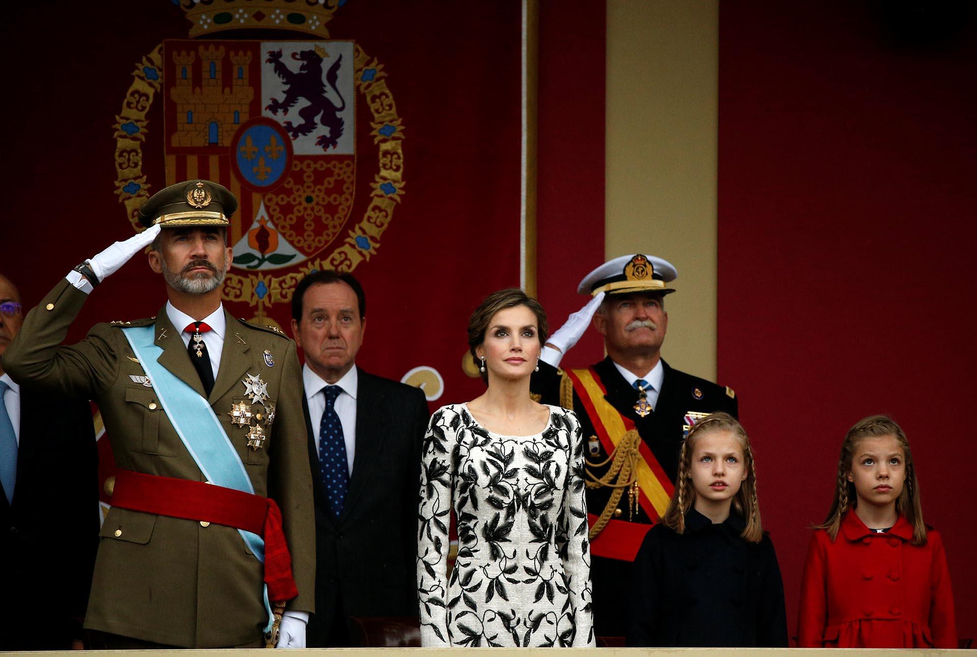 En los festejos por el Día nacional de de España en Madrid, durante un acto protocolar que vuelve a mostrar a la familia unida.