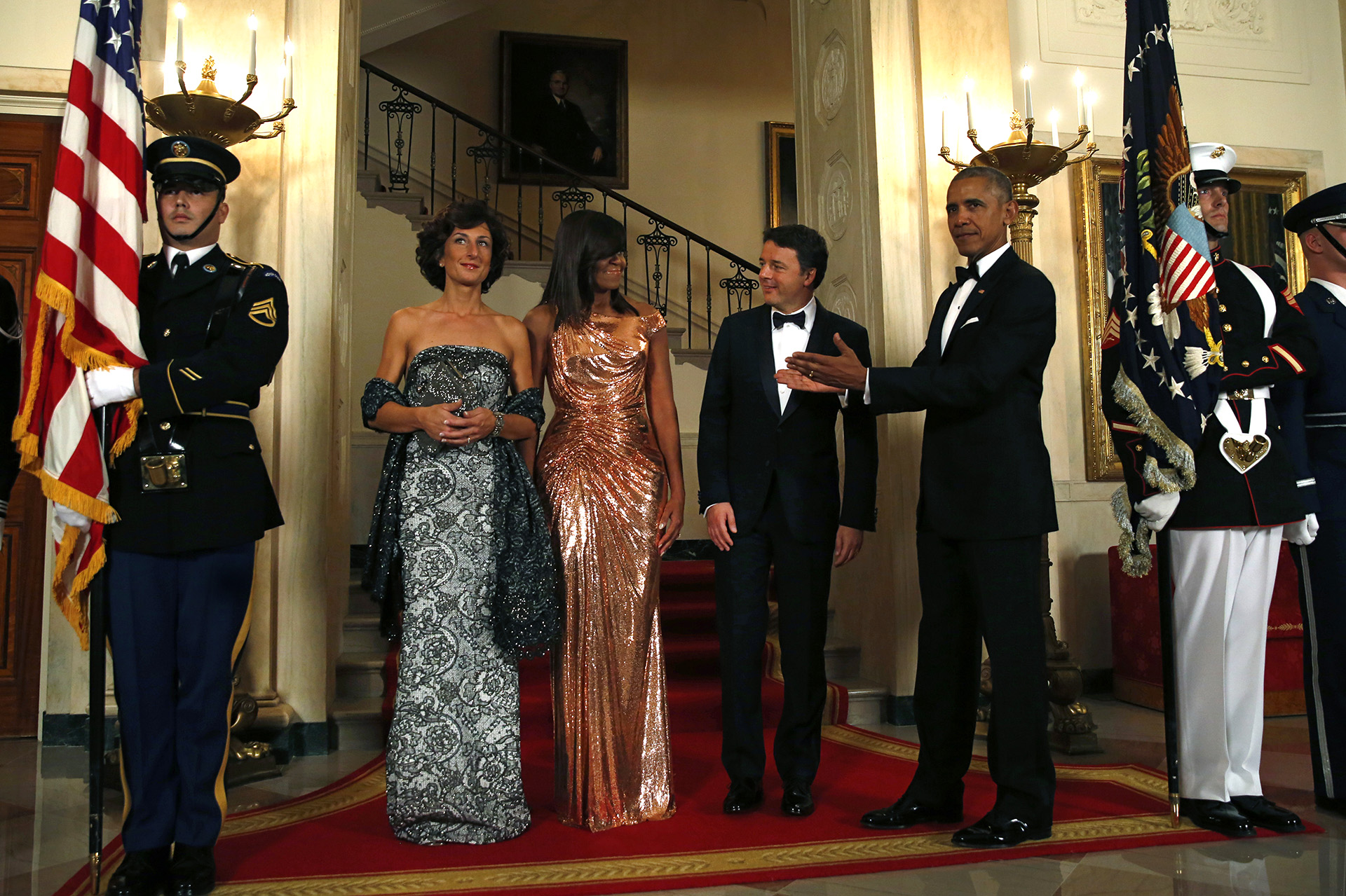 Barack y Michelle Obama dieron una cálida bienvenida al primer ministro italiano y a su mujer