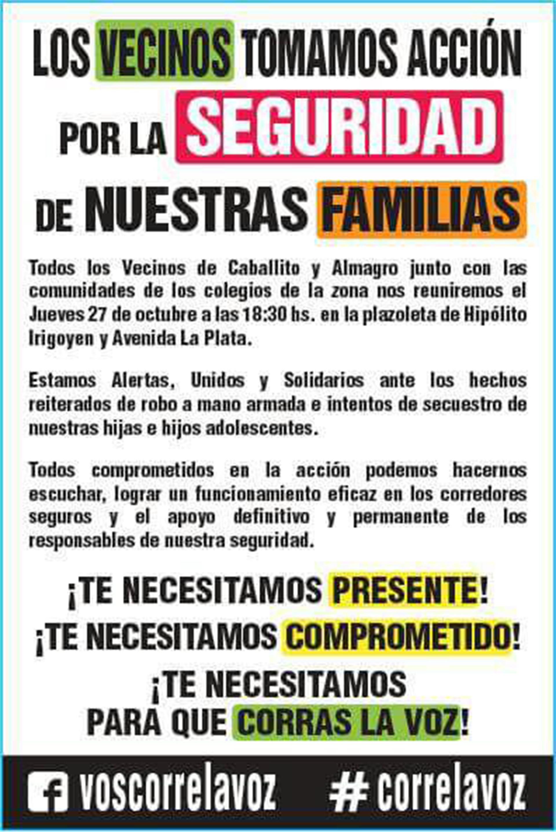 El folleto que repartieron los padres y vecinos de Caballito y Almagro