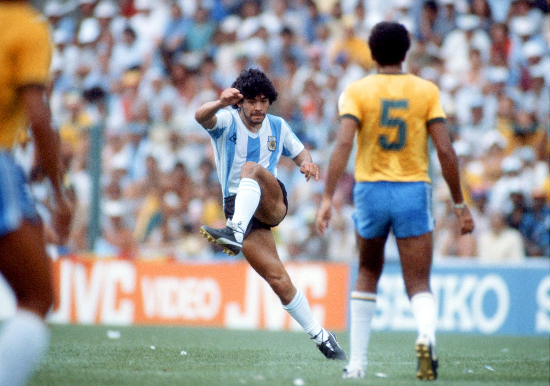 En pleno clásico ante Brasil, durante el Mundial de España 82