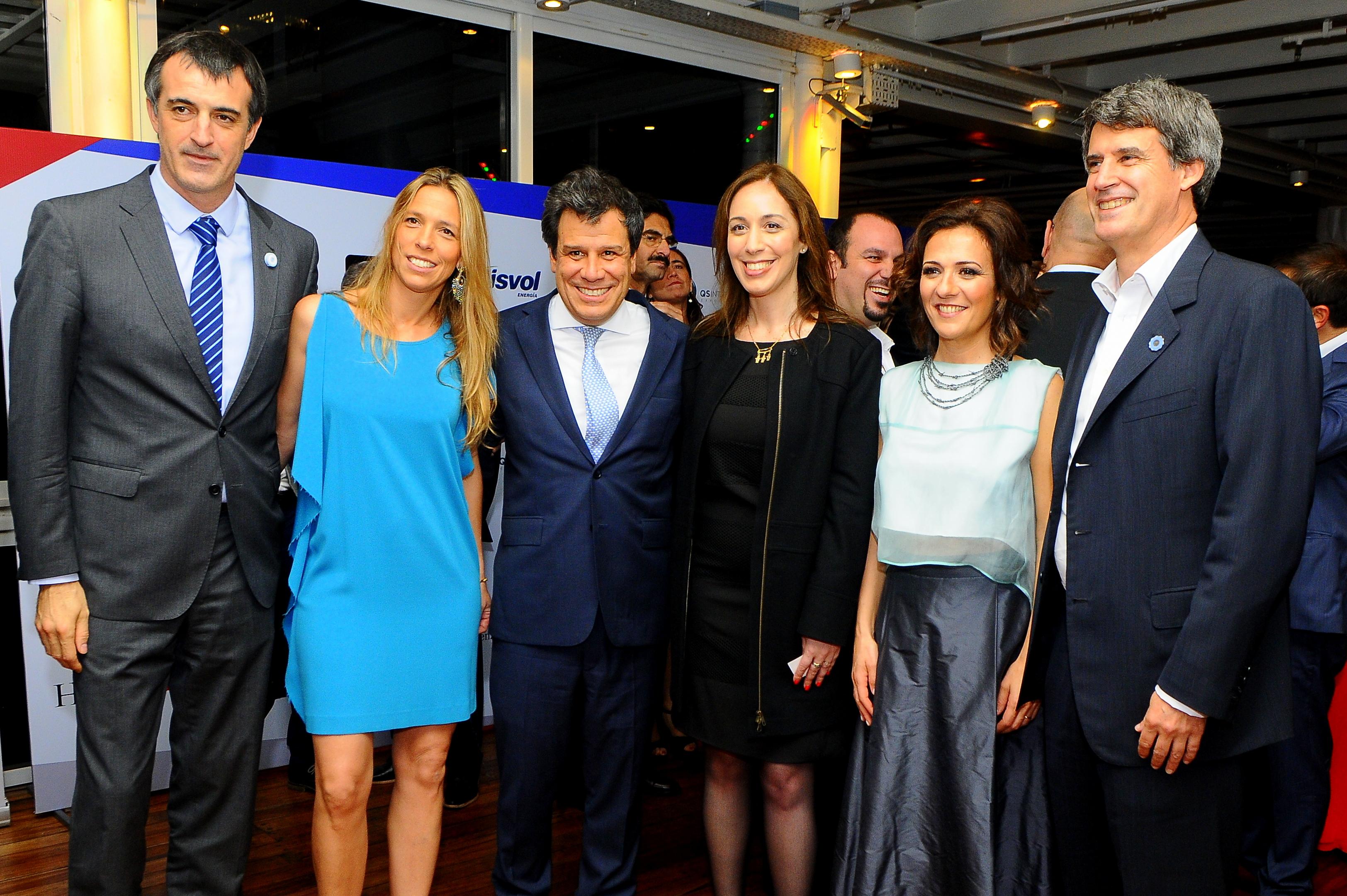 Facundo Manes junto a la gobernadora de la Provincia de Buenos Aires, María Eugenia Vidal; el ministro de Educación, Esteban Bullrich, y el ministro de Hacienda, Alfonso Prat-Gay