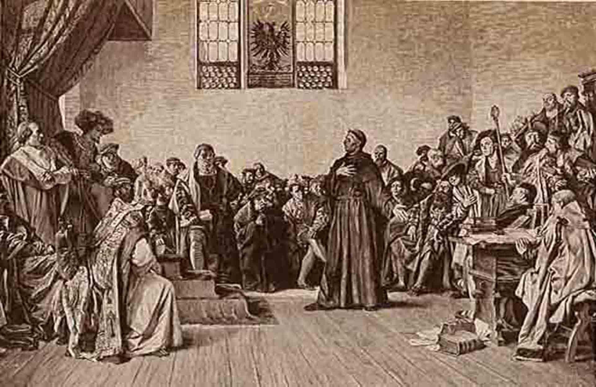 Martín Lutero comparece ante la Dieta de Worms