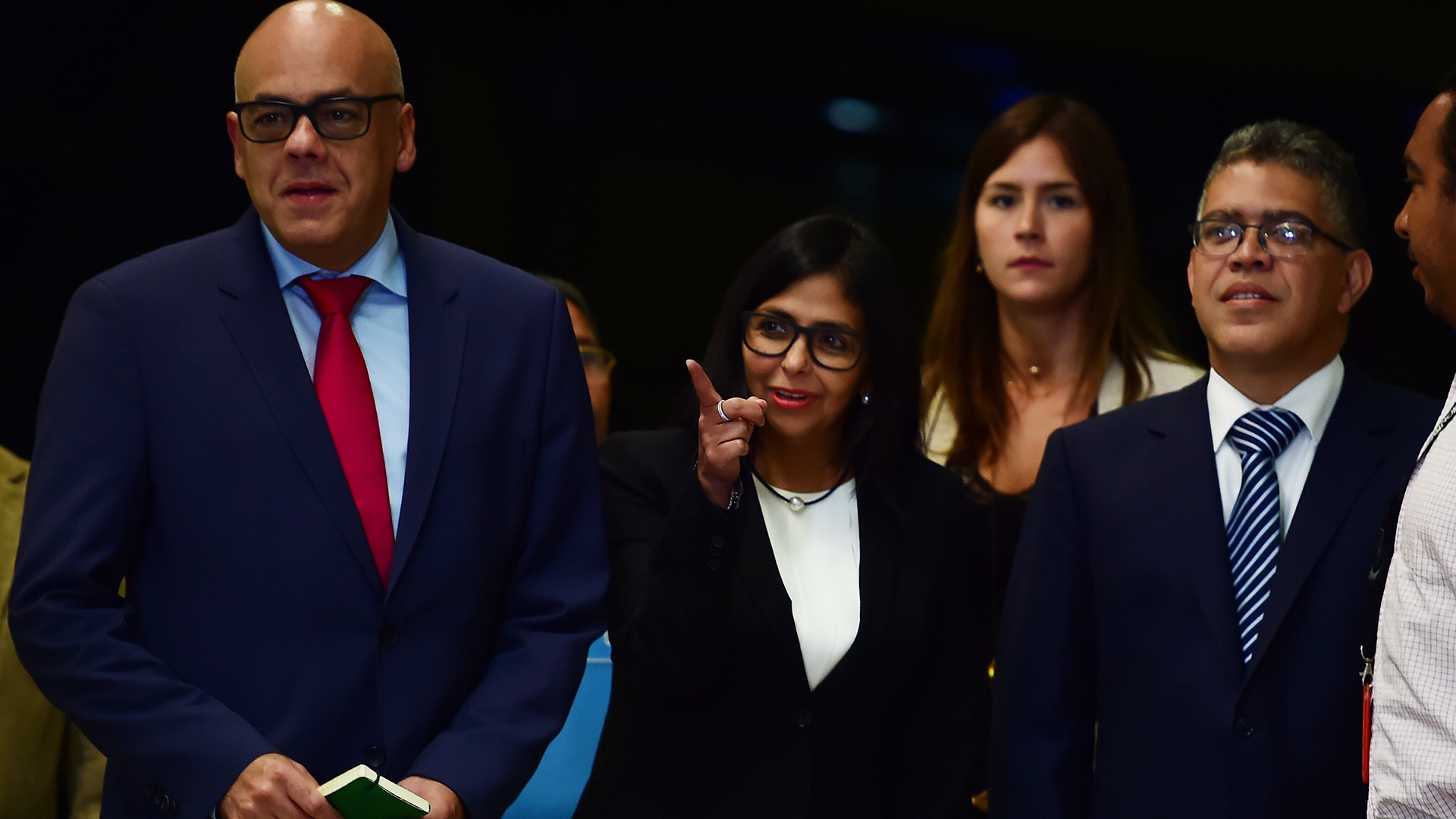 Jorge Rodríguez, junto al resto de la delegación venezolana en República Dominicana. (AFP)