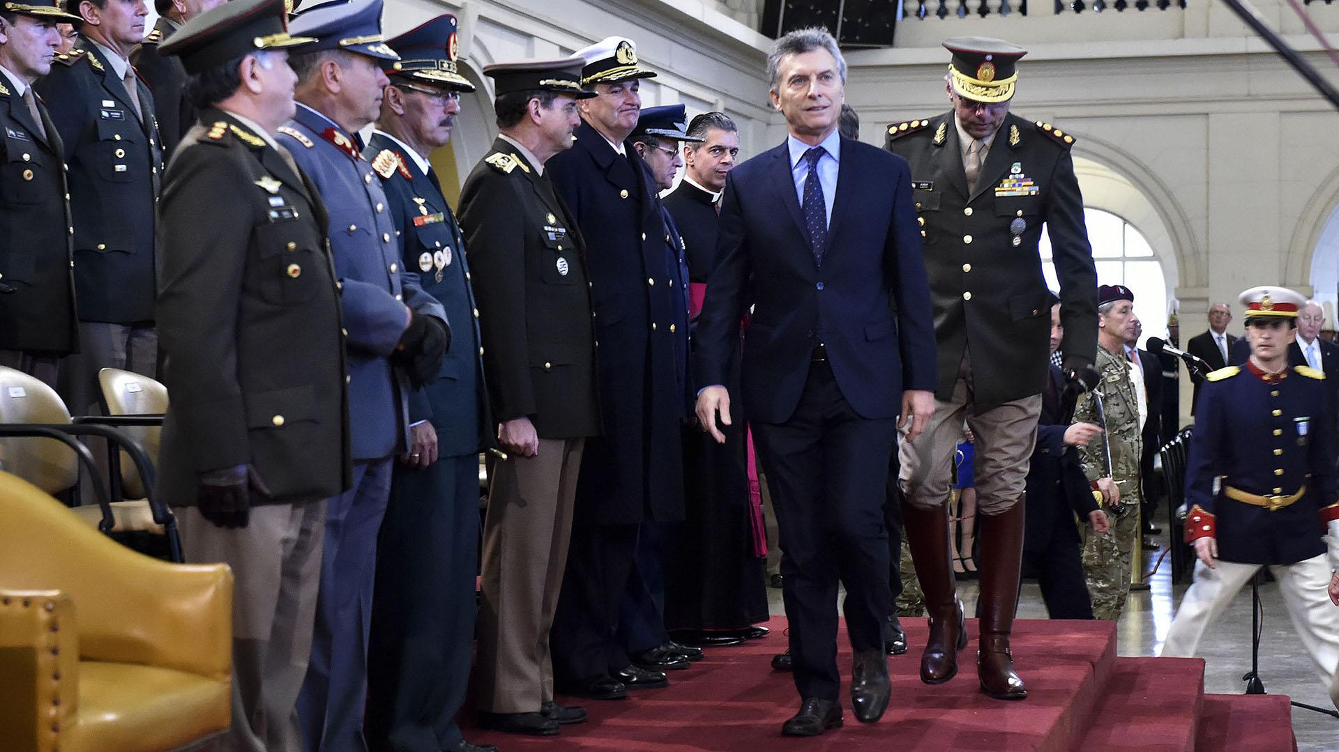 El presidente Mauricio Macri durante el acto por el Día del Ejército Argentino