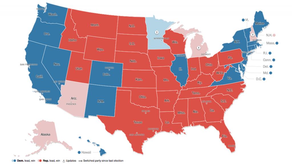 mapa elecciones trump hillary 1920