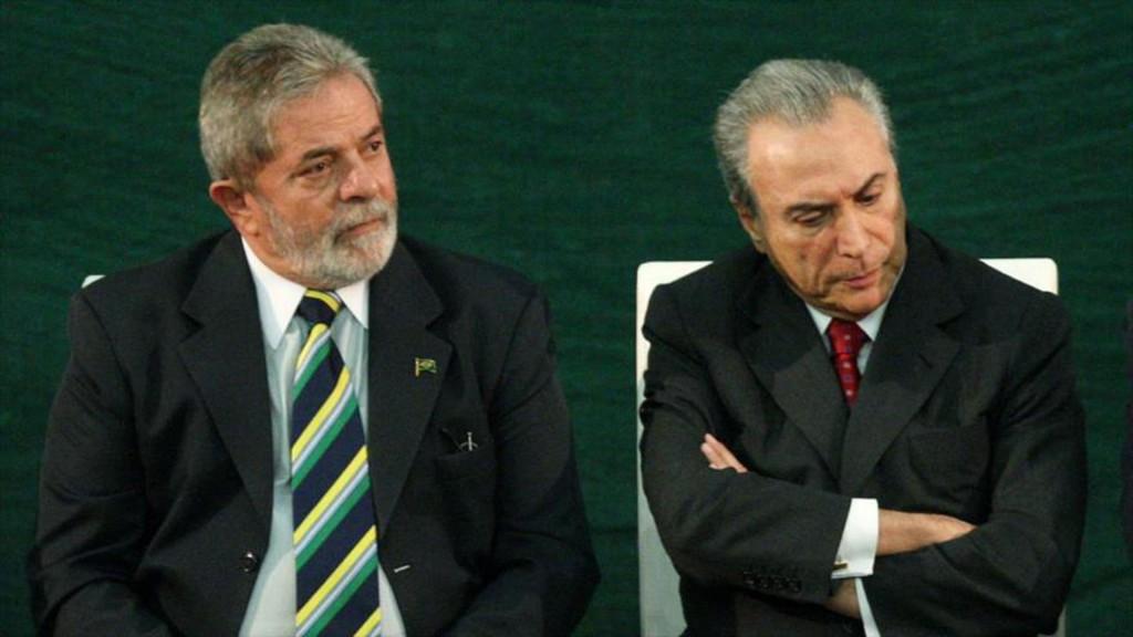 El ex mandatario, Lula da Silva; junto al actual presidente, Michel Temer (Archivo)