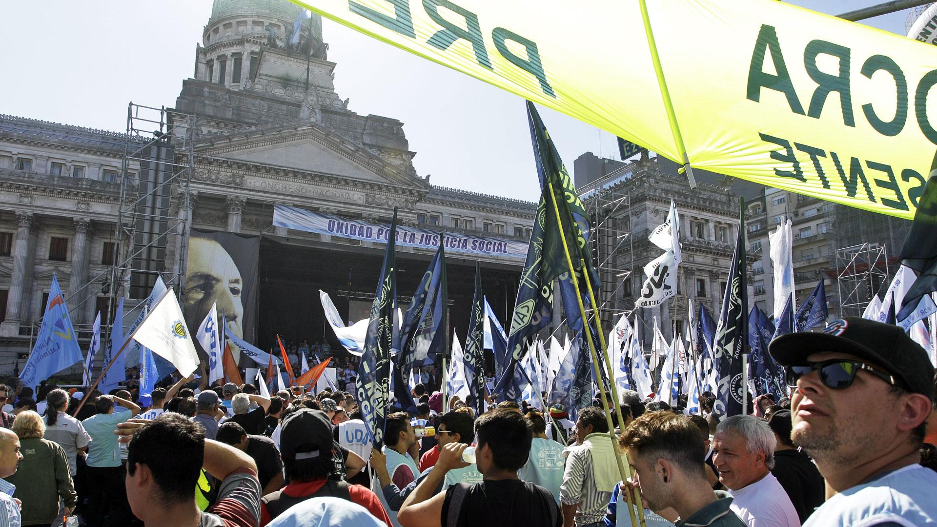 La Plaza del Congreso fue el centro de la movilización