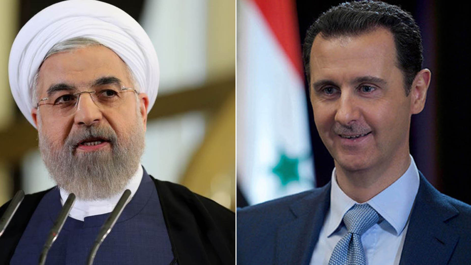 Hasan Rohani, presidente de Irán, y Bashar al Assad, de Siria