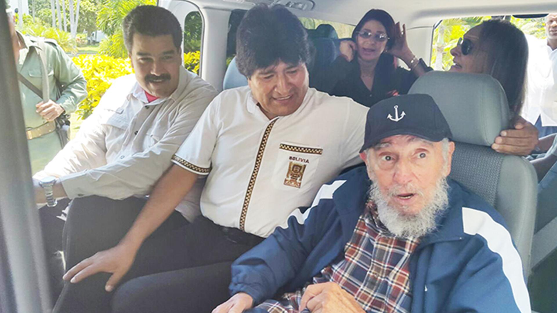 Los dictadores Nicolás Maduro, Evo Morales y Fidel Castro