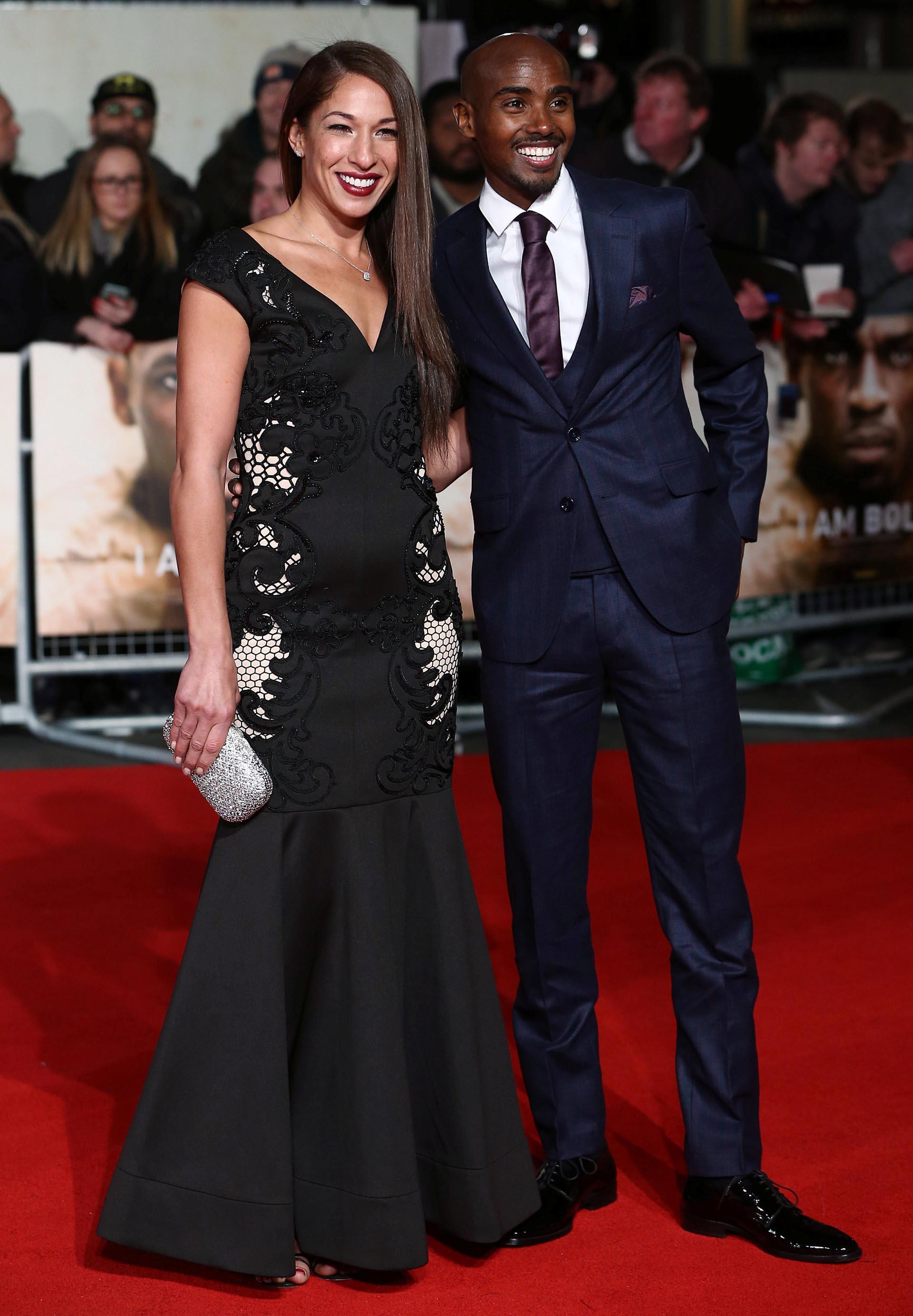 El atleta británico Mo Farah junto a su esposa, Tania