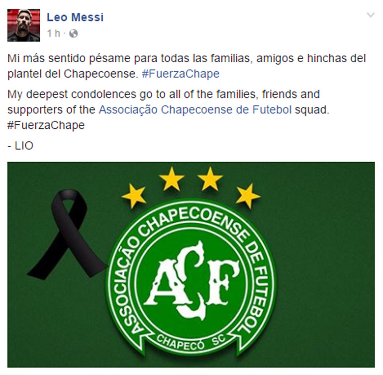 Chapecoense condolencias Messi facebook SF