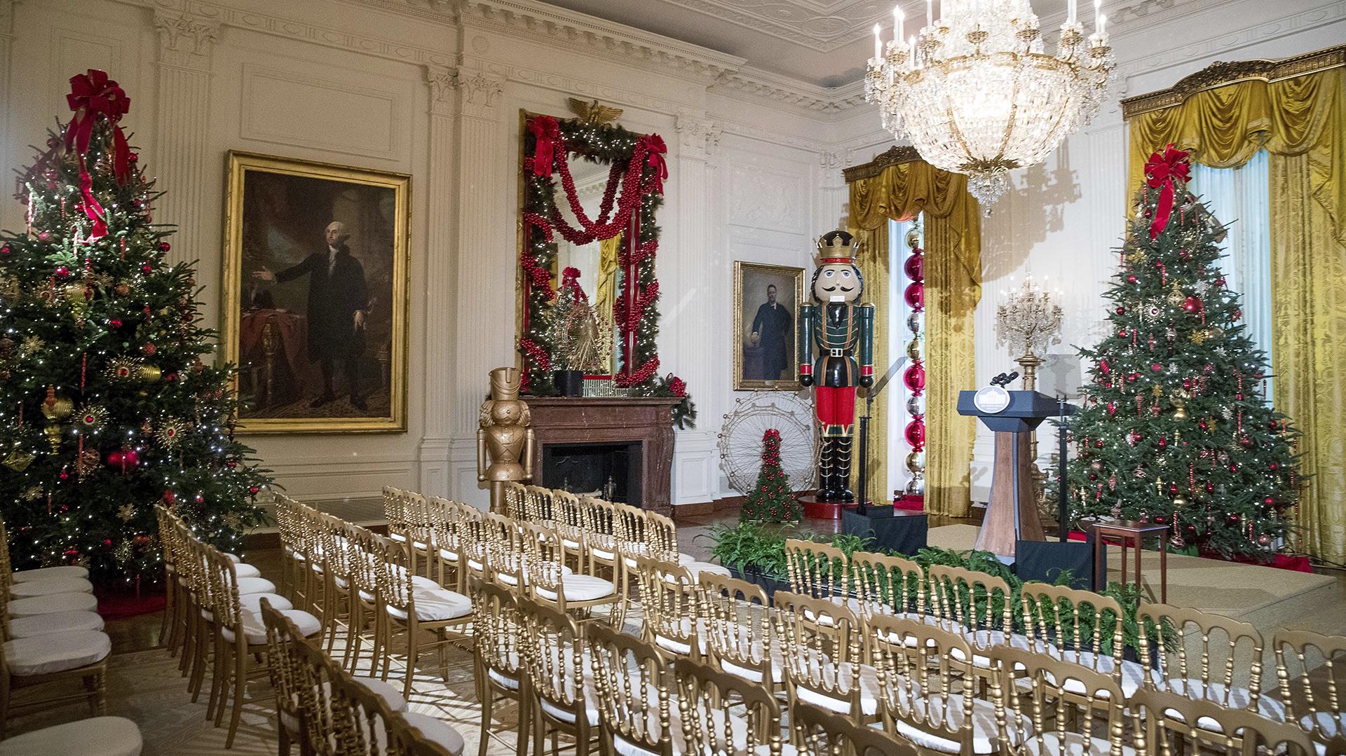 Decoraciones en la Sala Este de la Casa Blanca