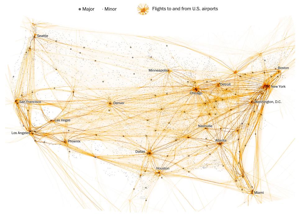 Puntos gruesos marcan los aeropuertos mayores. Puntos finos marcan los aeropuertos pequeños. Las líneas marcan los trayectos desde y hacia aeropuertos estadounidenses (The Washington Post)
