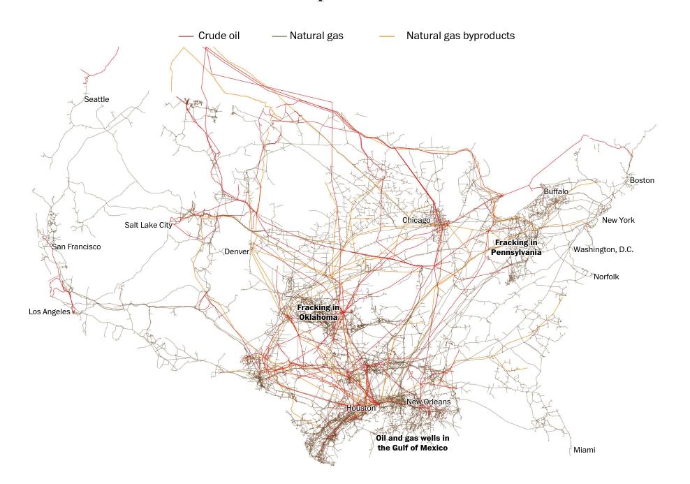 En rojo los oleoductos. En gris los gasoductos. En amarillo las tuberías de los subproductos de gas natural (The Washington Post)