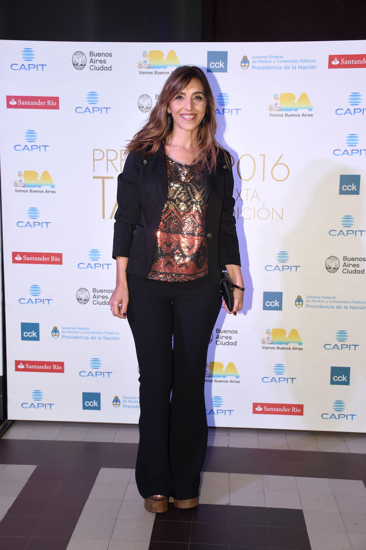 La periodista Karina Iavicoli en la entrega de los Premios Tato
