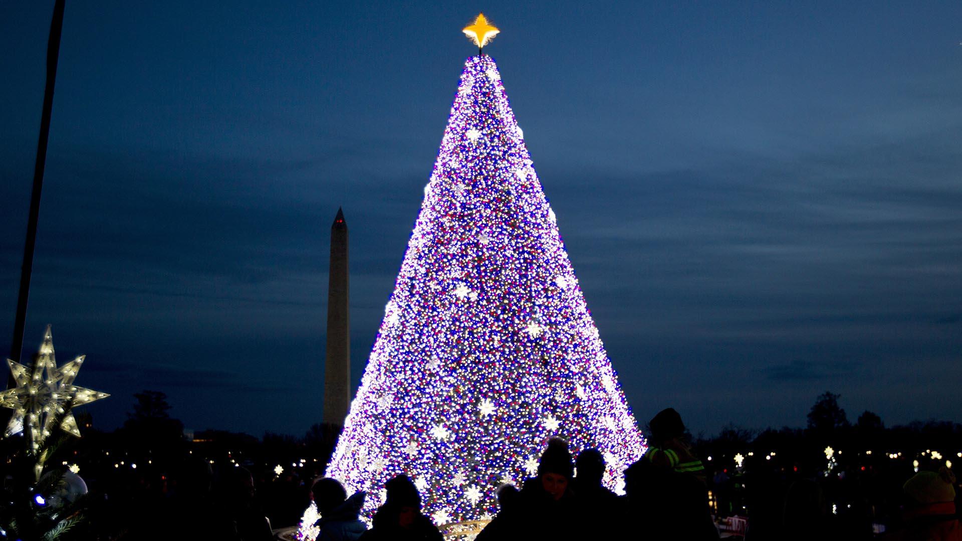 el rbol de navidad nacional con el monumento a washington detrs - Imagenes Arbol De Navidad