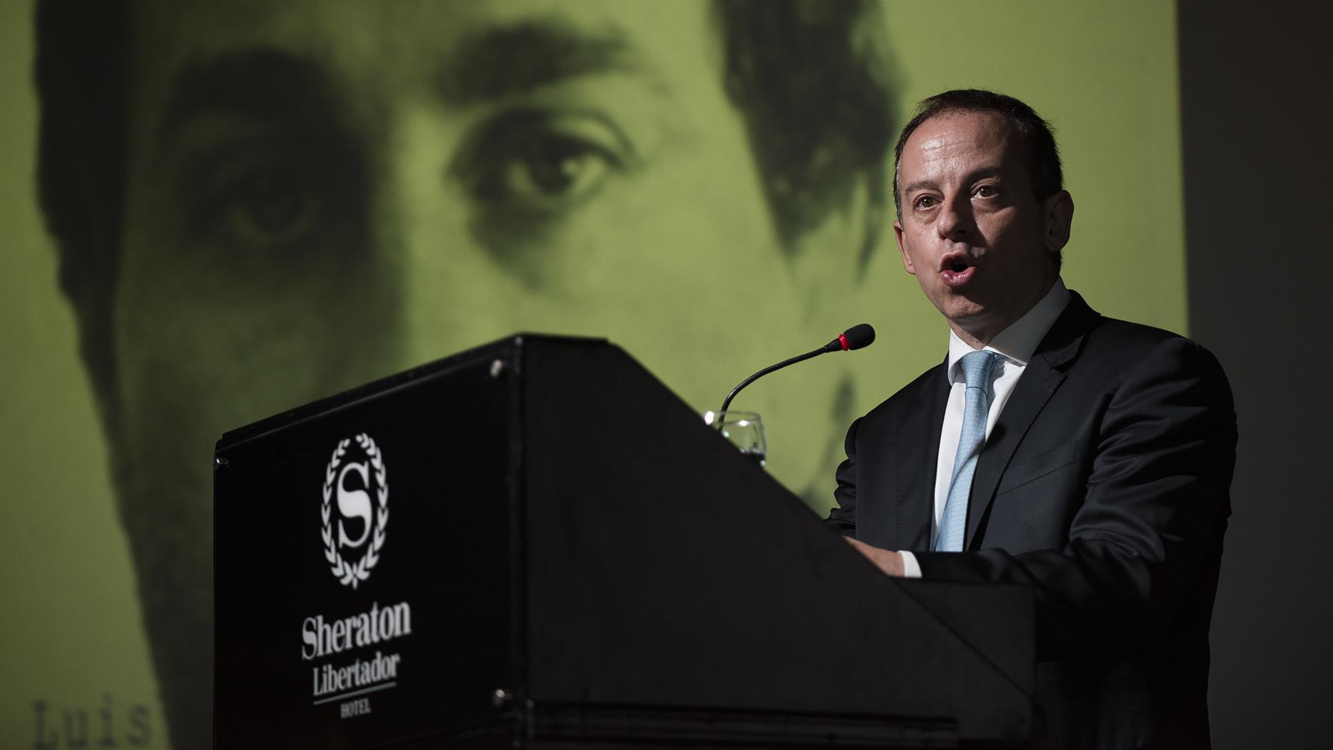 Durante la noche, se llevó a cabo un homenaje a José Luis Cabezas. En la foto, Martín Etchevers, presidente de la comisión de Libertad de Prensa