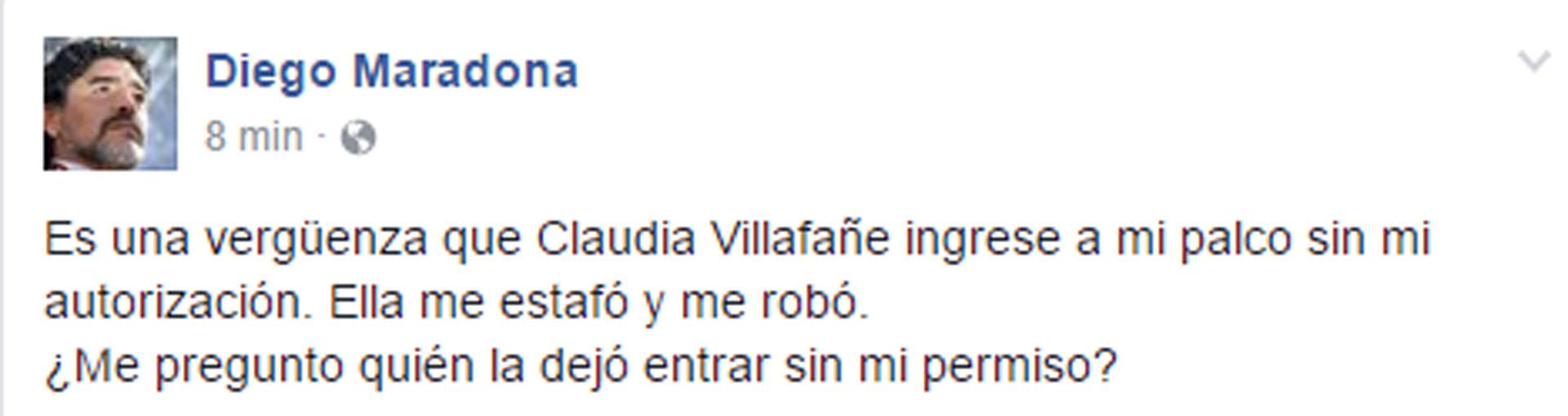 El posteo de Diego Maradona contra su ex en su cuenta de Facebook