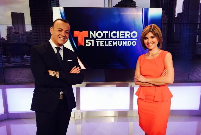 Noticiero Telemundo 51 presentado por Fausto Malavé y Daisy Ballmajó.