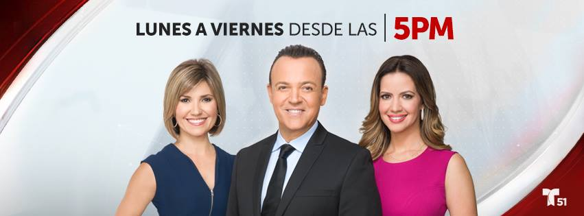 Noticiero Telemundo 51 presentado por Fausto Malavé, Daisy Ballmajó y Alejandra Molina. Lun/Vie 5pm hora de Miami