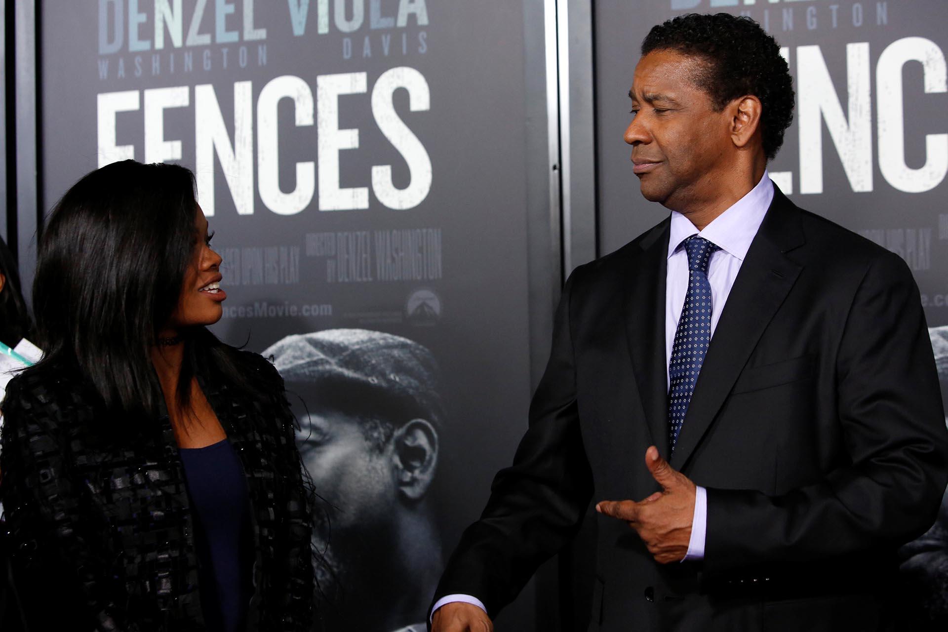 Denzel Washington y Gabby Douglas, felices con el estreno del film /// Fotos: Reuters