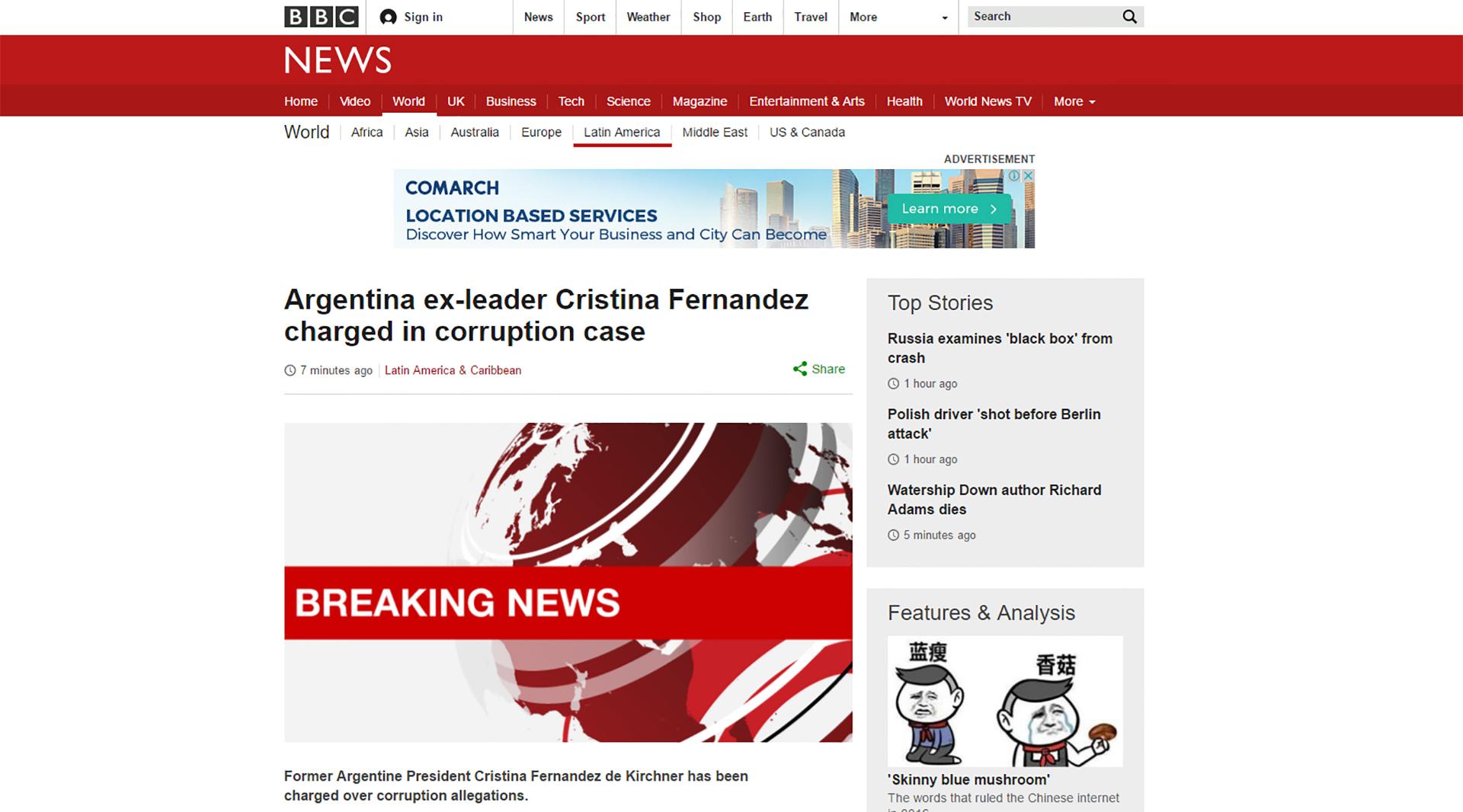 La BBC emitió un alerta por la situación procesal de Cristina Elisabet Kirchner