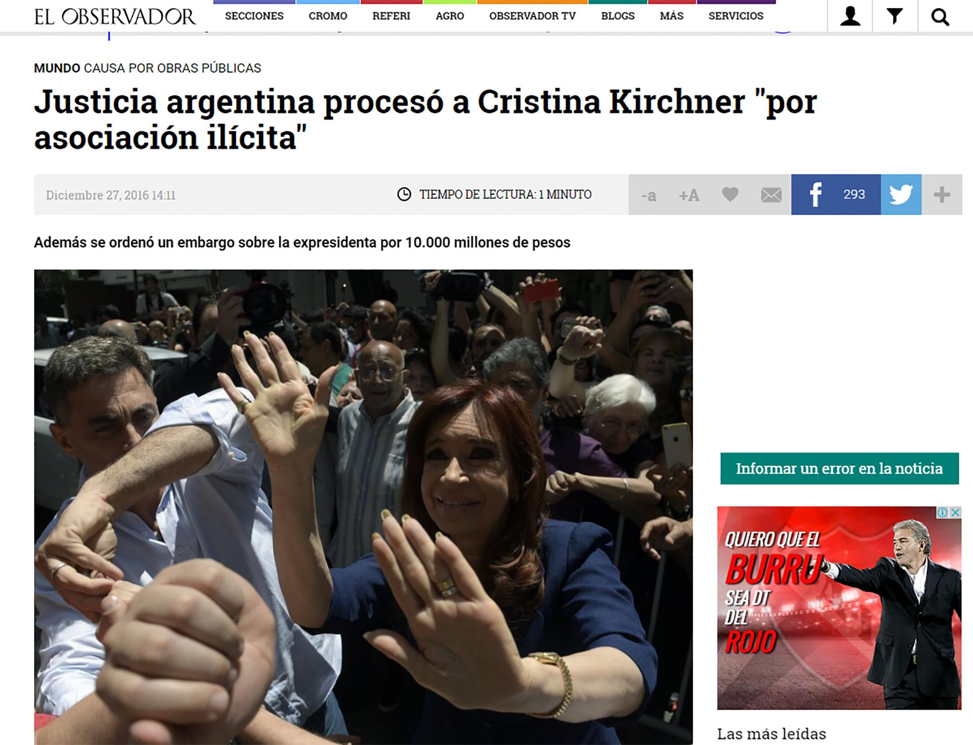 En Uruguay, El Observador se hizo eco de las noticias en Buenos Aires