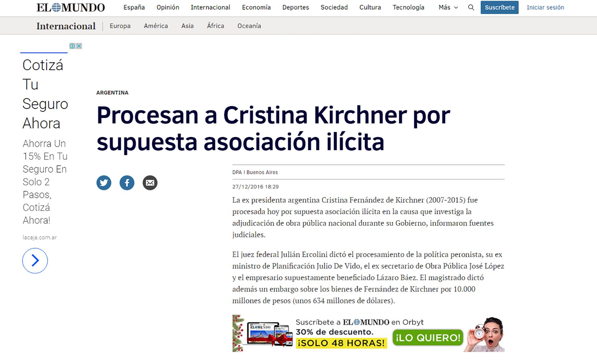 El Mundo fue el primer medio español en informar sobre el traspié judicial de la ex presidente argentina