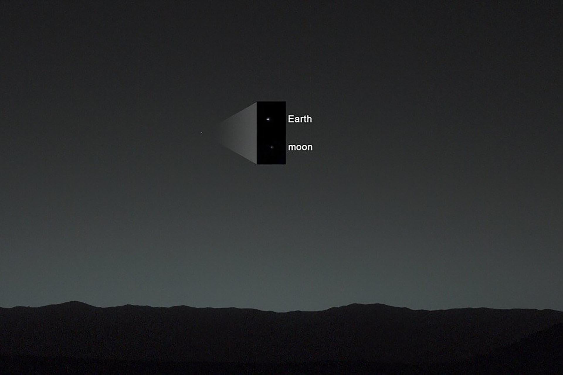 La Luna y la Tierra fotografiadas por la misión Curiosity en 2014