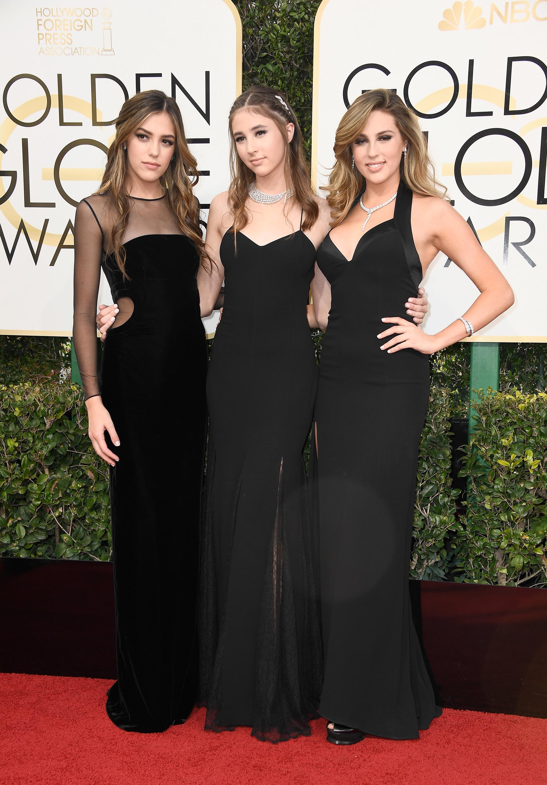 Miss Golden Globes Sistine Stallone, Scarlet Stallone y Sophia Stallone