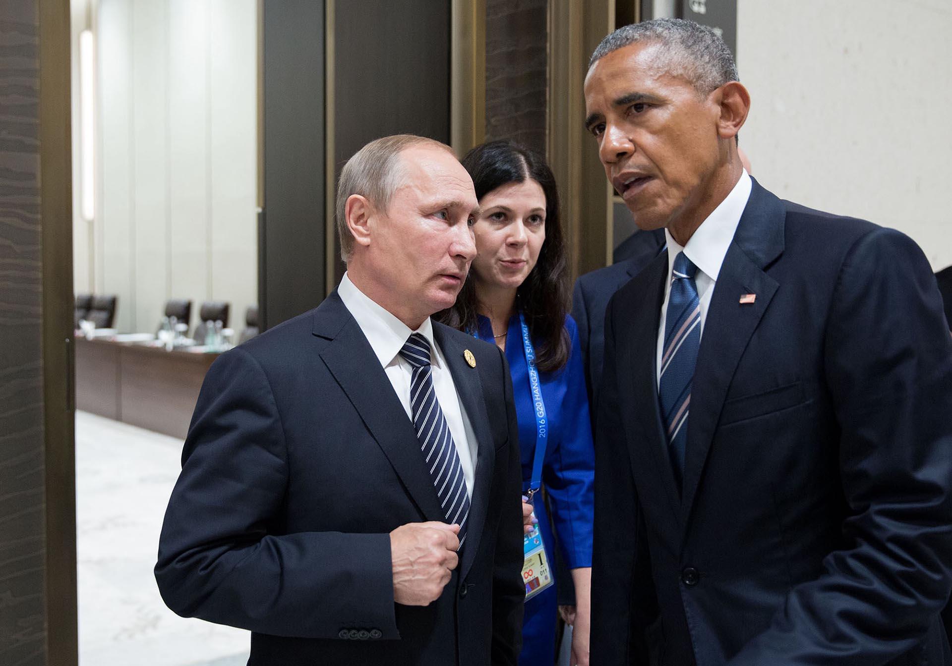 Junto a Vladimir Putin, en la reunión del G-20 en Hangzhou, China.