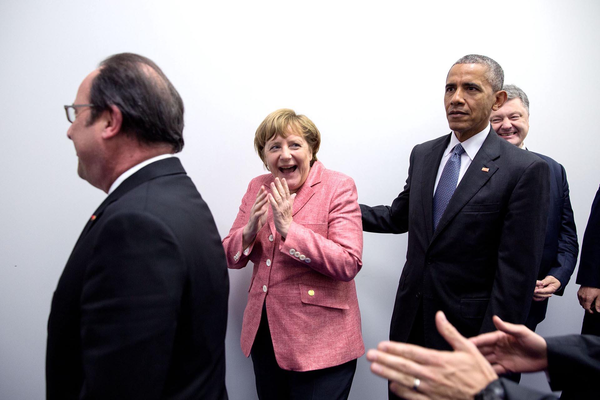 Con la canciller alemana, Angela Merkel