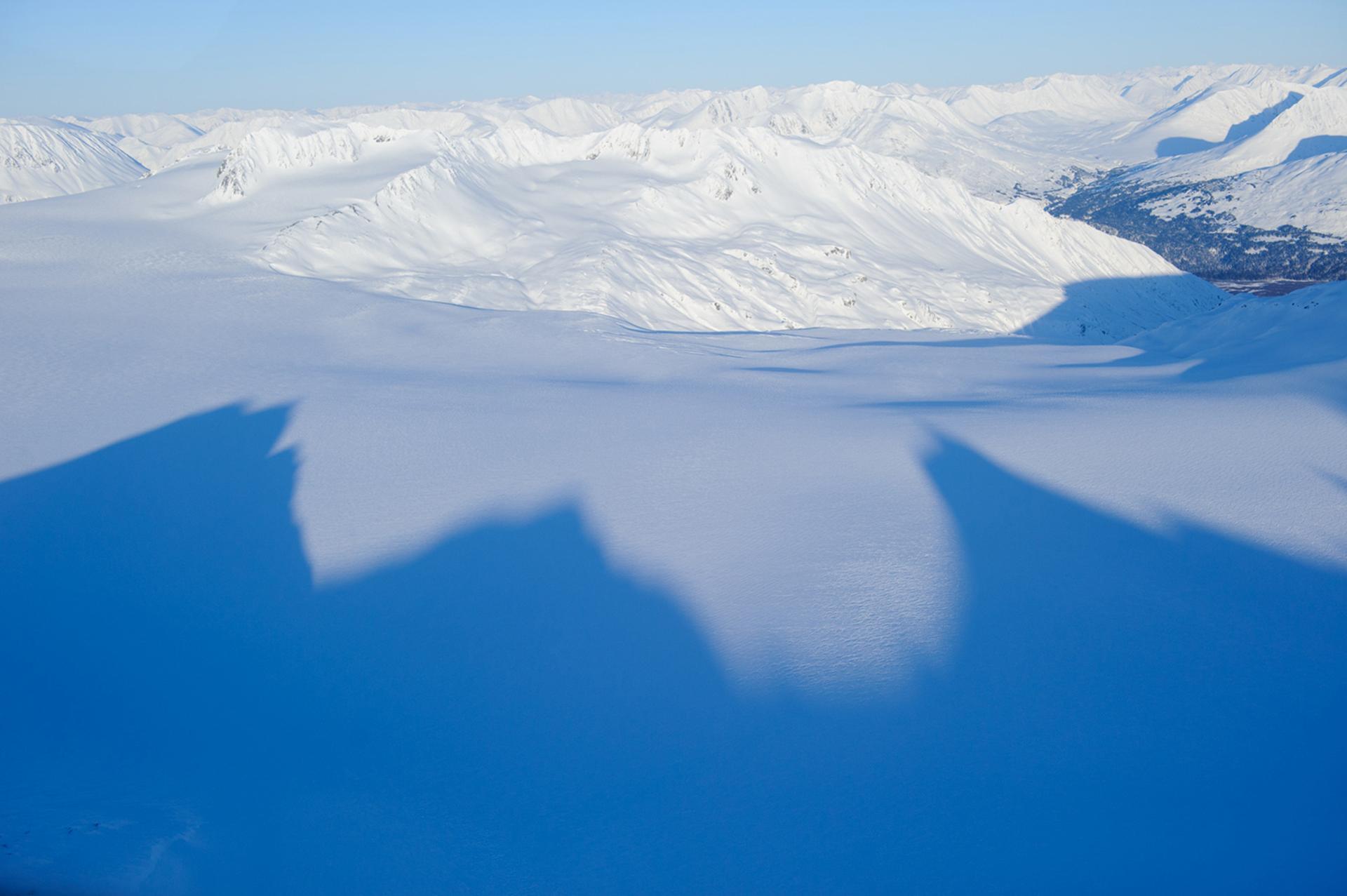 Una vista aérea del campo de hielo de Harding