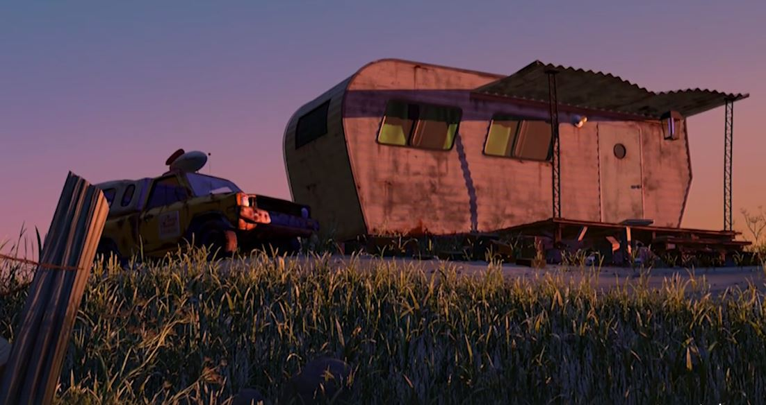 Cuando son desterrados los protagonistas de Monsters Inc., puede observarse la furgoneta de Pizza Planet