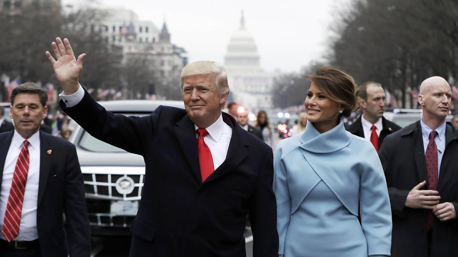 20/1 Donald Trump y su esposa, Melania, el día de su asunción como Presidente de Estados Unidos (Reuters)