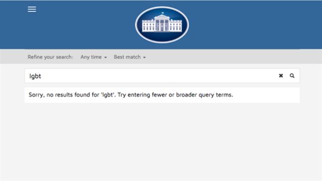 Una búsqueda sobre temas relacionados con LGTB y cambio climático en el sitio web de la Casa Blanca no da ningún resultado