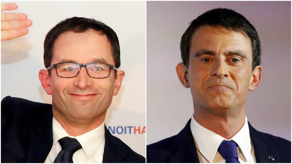 Benoît Hamon y Manuel Valls (Reuters)