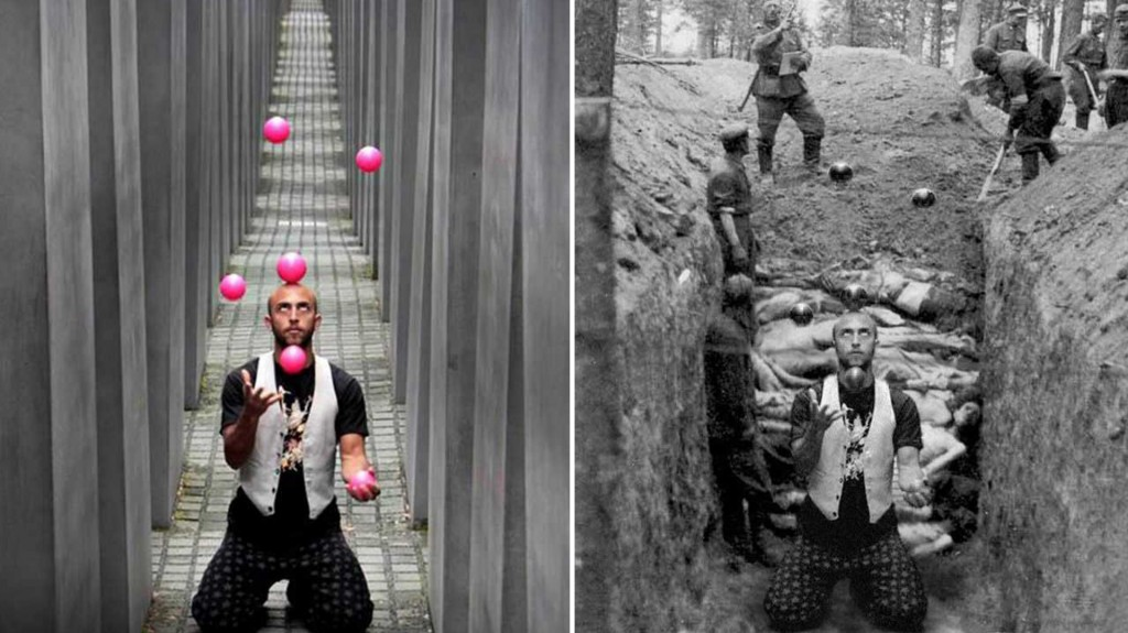 Un malabarista usó el lugar como un escenario más para sus fotos artísticas
