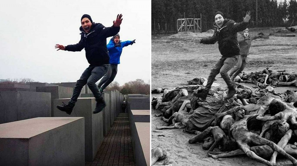 """El epígrafe de la foto original decía """"Saltando sobre judíos muertos"""", lo que molestó e inspiró al artista"""